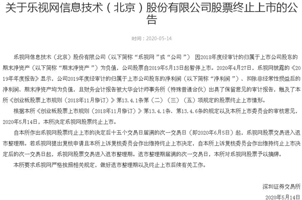 深交所:乐视网股票终止上市
