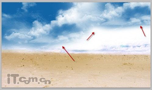Photoshop制作海滩美女的幻想世界图