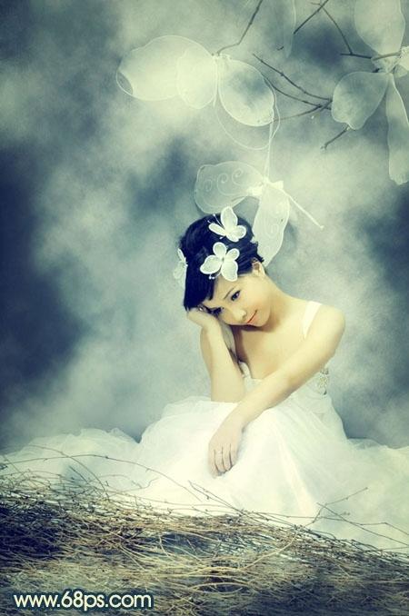 Photoshop制作迷雾中的婚纱照片
